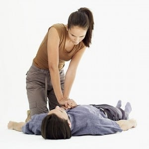 CPR on unconscious and not breathing casualty