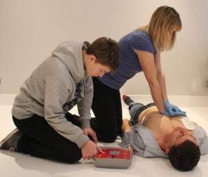 AED defibrillator and CPR