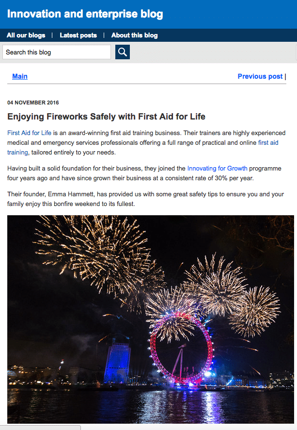 British Library Fireworks - First Aid for Life