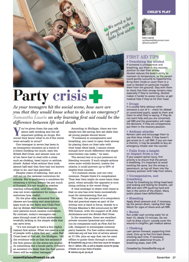 First Aid Tips for teenagers - Party Crisis