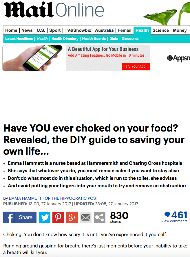 Mail Online - DIY Guide to save your life
