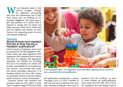 British Journal of School Nursing: First Aid Requirements in Schools