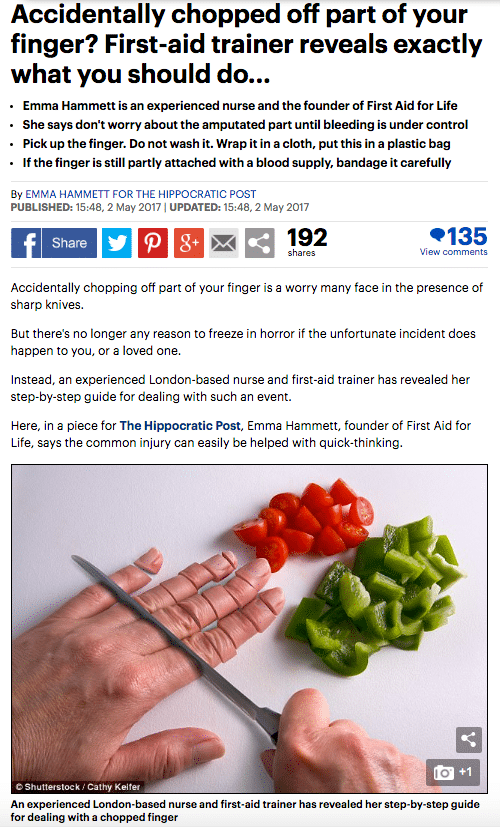 Mail Online chopped off finger