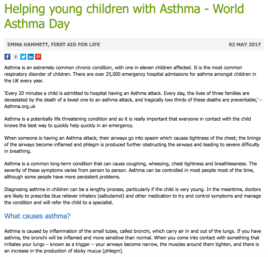 Helping young children with asthma