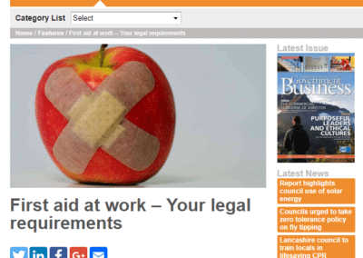Government business – First aid at work – Your legal requirements