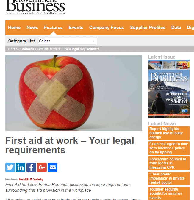 Government Business – Legal Requirements for First Aid at Work