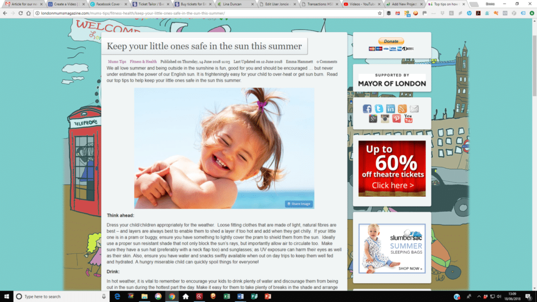London Mums Magazine – Stay Safe in the Sun