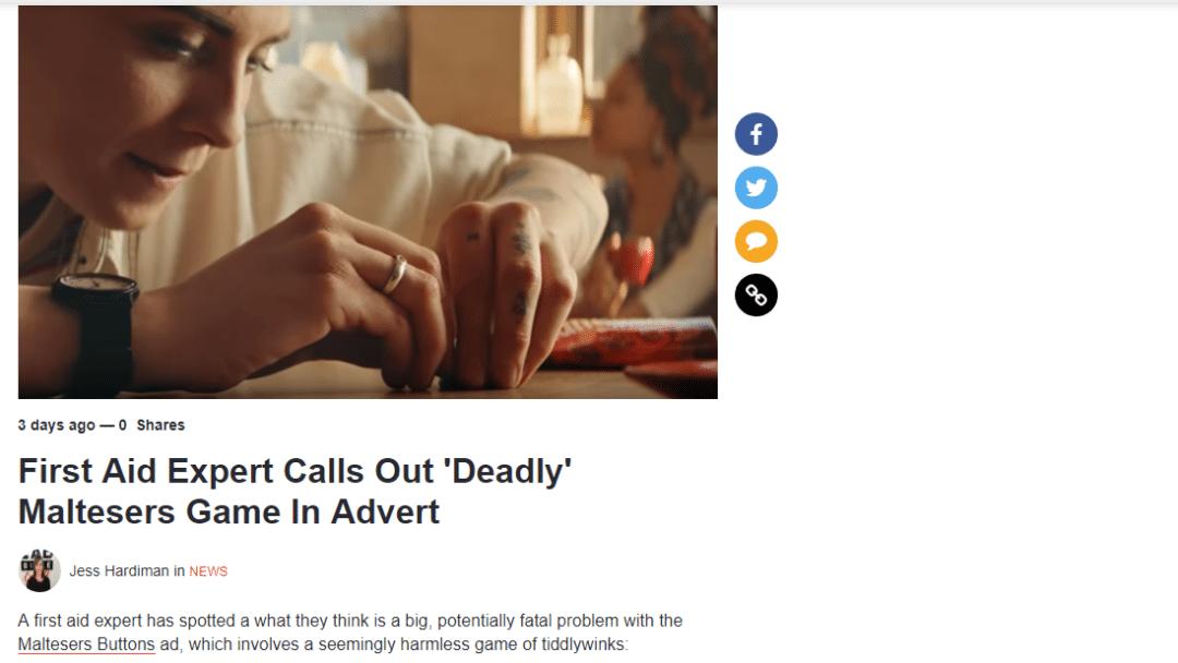 LadBible – Maltesers Potential as a Choking Hazard