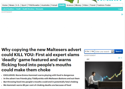 Mail Online – First aid expert slams 'deadly' game in advert for Maltesers