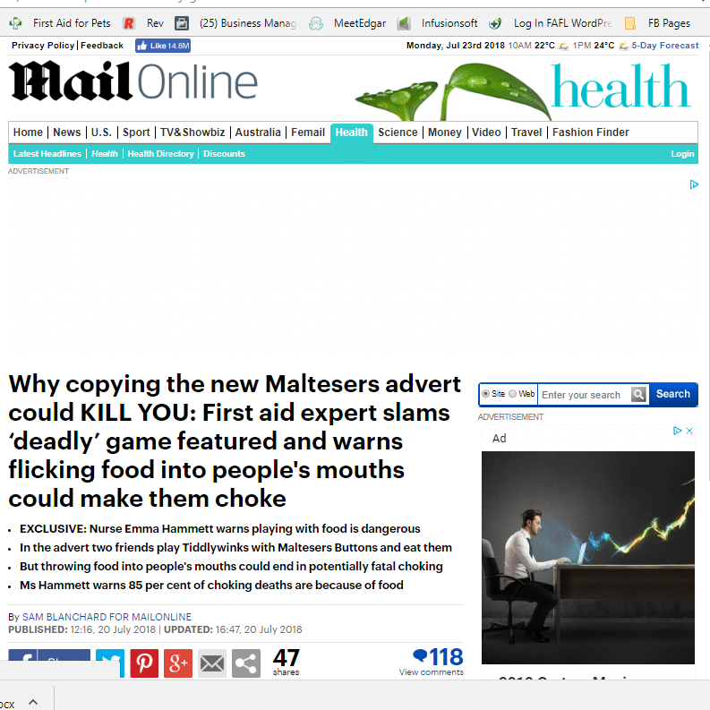 MailOnline Maltesers Choking Risk