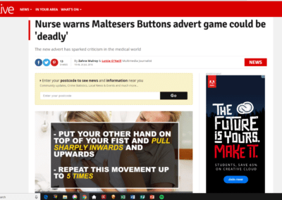 Nurse warns Maltesers Buttons advert game could be 'deadly'.