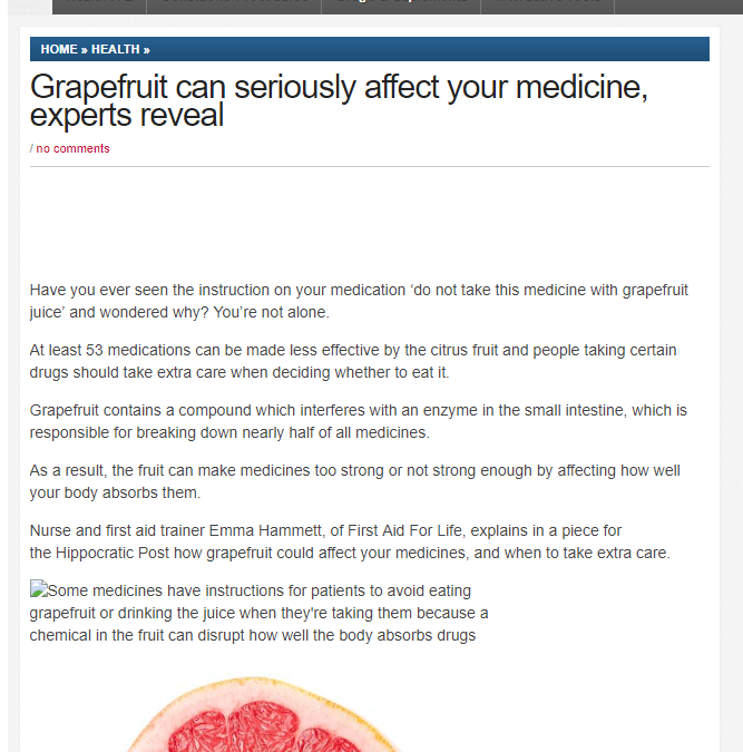 Health Medicine Network – Grapefruit's Effect on Medication