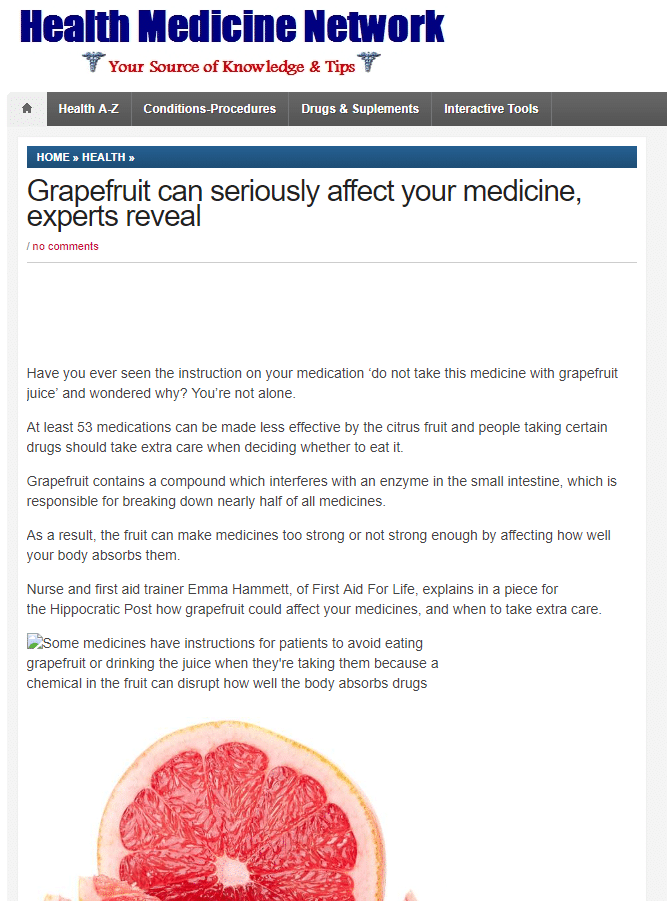 Health Medicine Network – Grapefruit can seriously affect your medicine.