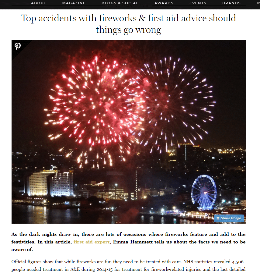 BritMums – Firework Related Accidents