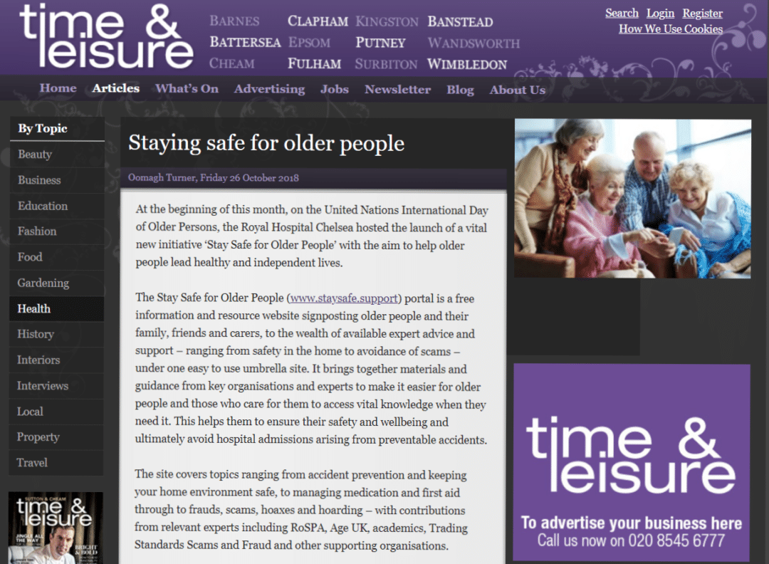 Time and Leisure - Stay Safe for older people