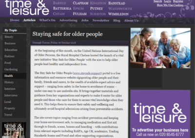 Time & Leisure – Staying Safe for Older People