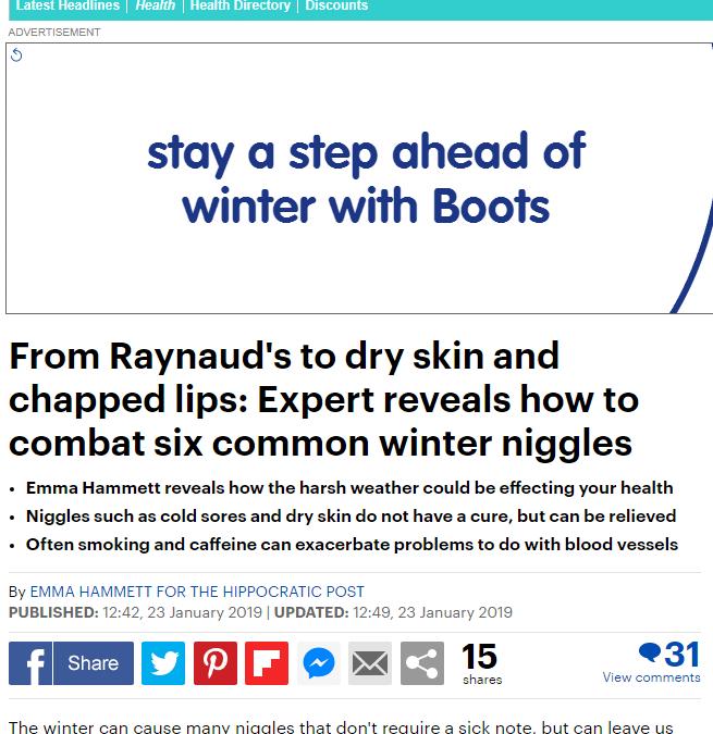 MailOnline – Raynaud's, Dry Skin & Chapped Lips