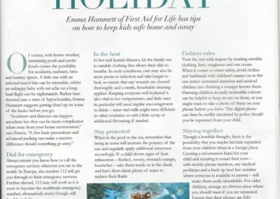 Baby&Me Magazine – 'Happy Holiday' keeping kids safe away from home