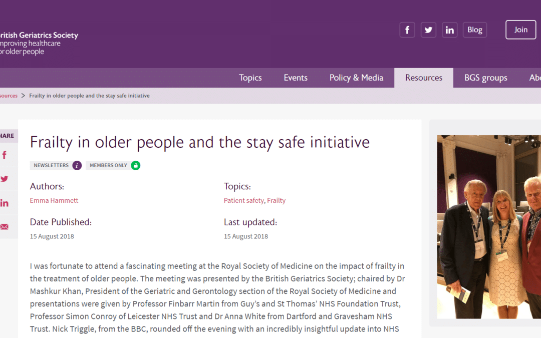 British Geriatrics Society: Frailty in older people and the stay safe initiative