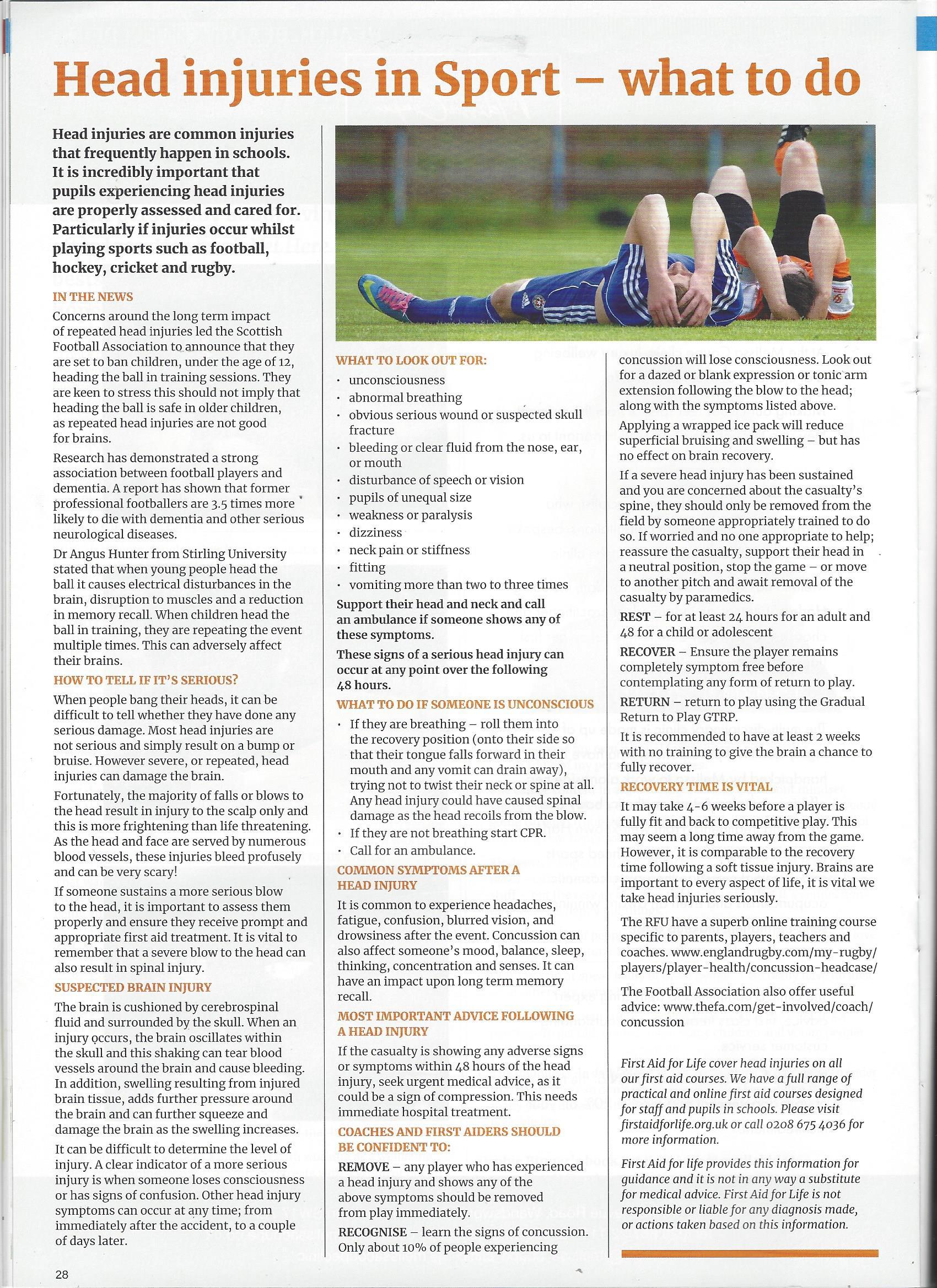 InterSchools Advertiser Head injuries 2020